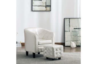 Tub Chair with Footstool White Faux Leather