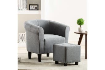 2 Piece Armchair and Stool Set Light Grey Fabric