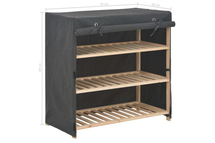 Shoe Cabinet with Cover Grey 79x40x80 cm Fabric