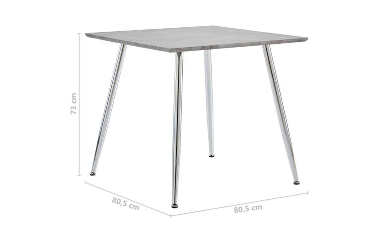 Dining Table Concrete and Silver 80.5x80.5x73 cm MDF
