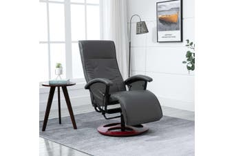Swivel TV Armchair Grey Faux Leather