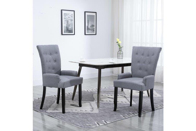 Dining Chair With Armrests Light Grey Fabric Matt Blatt