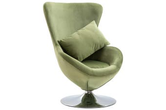Swivel Egg Chair with Cushion Light Green Velvet