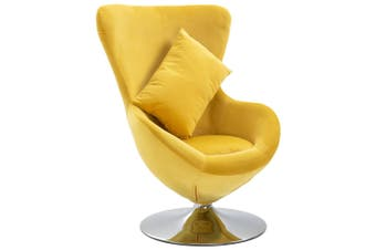 Swivel Egg Chair with Cushion Yellow Velvet
