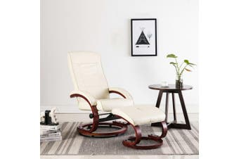 Reclining Chair with Footstool Cream Faux Leather