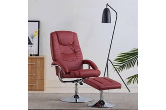 Reclining Chair with Footstool Wine Red Faux Leather