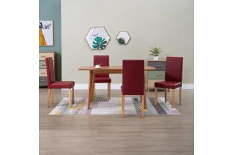 Dining Chairs 4 pcs Red Faux Leather