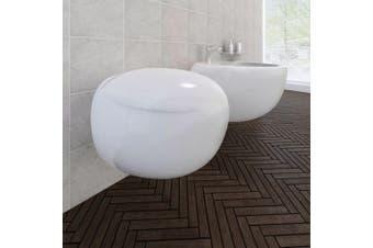Wall Hung Toilet & Bidet Set White Ceramic