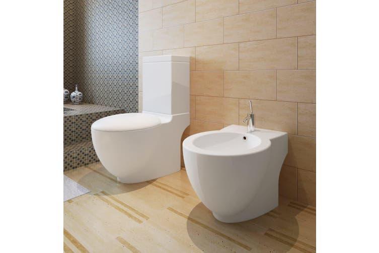 Stand Toilet & Bidet Set White Ceramic