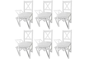 Dining Chairs 6 pcs White Pinewood