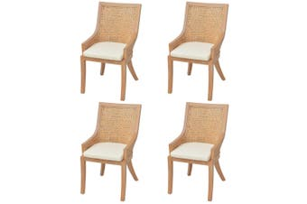 Dining Chairs 4 pcs Rattan and Solid Mango Wood