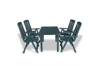 5 Piece Outdoor Dining Set Plastic Green