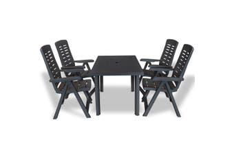5 Piece Outdoor Dining Set Plastic Anthracite