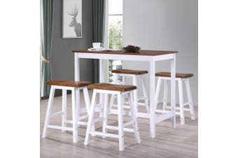 Bar Table and Stool Set 5 Pieces Solid Wood