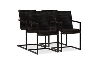 Dining Chairs 4 pcs Anthracite Real Leather