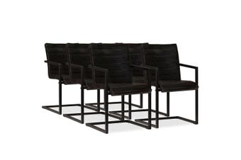 Dining Chairs 6 pcs Anthracite Real Leather