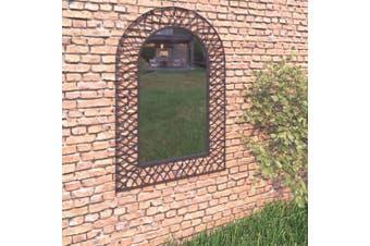 Garden Wall Mirror Arched 50x80 cm Black