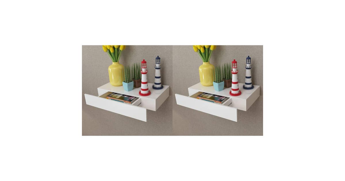 vidaxl vidaxl floating wall shelves with drawers 2 pcs white 48 cm