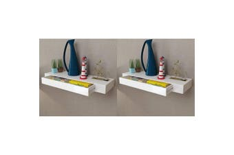 Floating Wall Shelves with Drawers 2 pcs White 80 cm