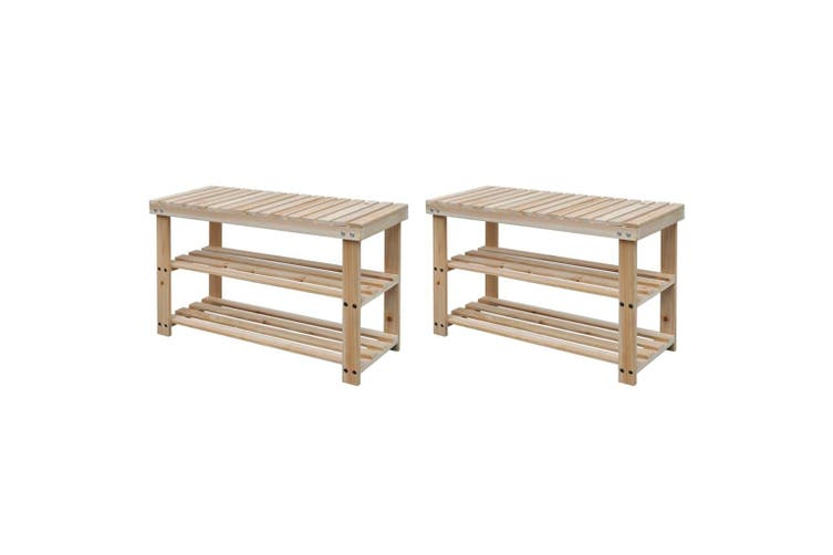 2-in-1 Shoe Rack with Bench Top 2 pcs Solid Wood