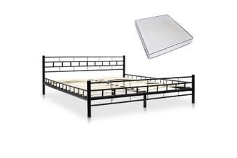 Bed with Memory Foam Mattress Black Metal 153x203 cm Queen