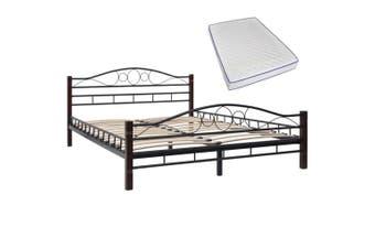 Bed with Memory Foam Mattress Black Metal 137x187 cm Double