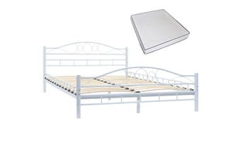 Bed with Memory Foam Mattress White Metal 137x187 cm Double