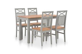 5 Piece Dining Set Solid Oak Wood