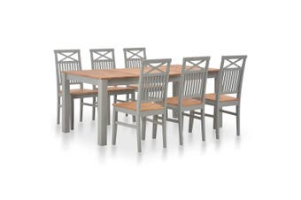 7 Piece Dining Set Solid Oak Wood
