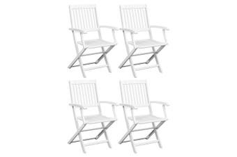 Dining Chairs 4 pcs White Solid Acacia Wood
