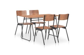 5 Piece Dining Set Brown Solid Plywood Steel