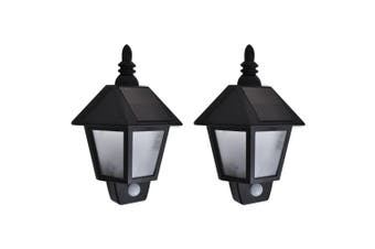 Solar Wall Lamps 2 pcs with Motion Sensor Black