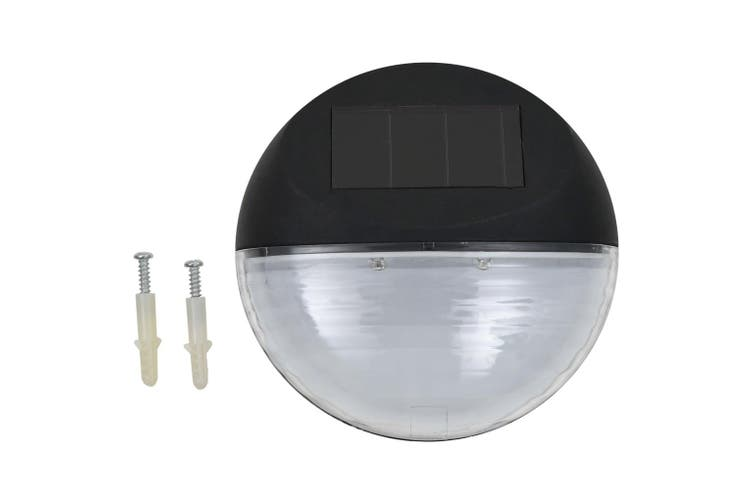 Outdoor Solar Wall Lamps LED 24 pcs Round Black