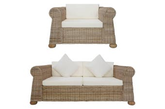 2 Piece Sofa Set with Cushions Natural Rattan
