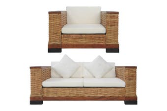 2 Piece Sofa Set with Cushions Brown Natural Rattan