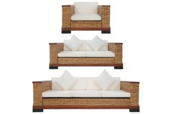 3 Piece Sofa Set with Cushions Brown Natural Rattan