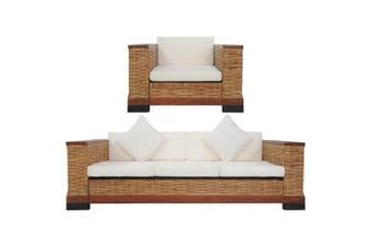 2 Piece Sofa Set with Cushions Brown Natural Rattan