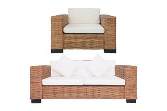 2 Piece Sofa Set with Cushions Natural Rattan