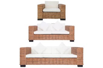 3 Piece Sofa Set with Cushions Natural Rattan