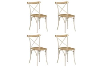 Cross Chairs 4 pcs White Solid Mango Wood