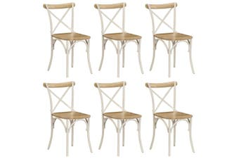 Cross Chairs 6 pcs White Solid Mango Wood