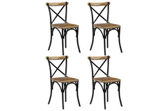 Cross Chairs 4 pcs Black Solid Mango Wood
