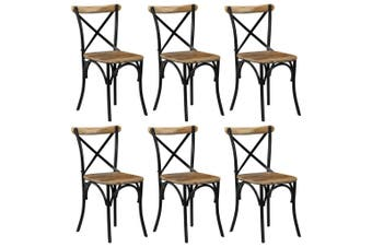 Cross Chairs 6 pcs Black Solid Mango Wood