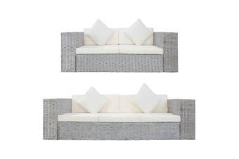 2 Piece Sofa Set with Cushions Grey Natural Rattan