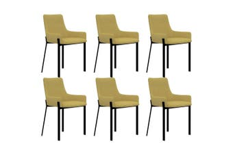 Dining Chairs 6 pcs Yellow Fabric