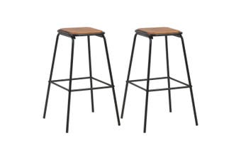 Bar Stools 2 pcs Black Solid Pinewood and Steel