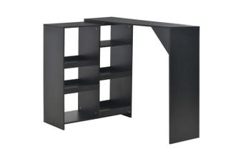 Bar Table with Moveable Shelf Black 138x40x120 cm