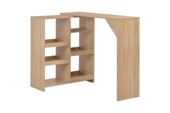 Bar Table with Moveable Shelf Oak 138x40x120 cm