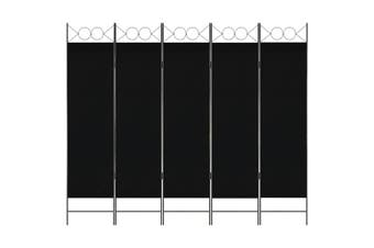 5-Panel Room Divider Black 200x180 cm