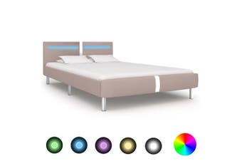 Bed Frame with LED Cappuccino Faux Leather Double
